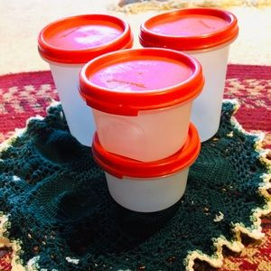 Tupperware, 8 Pc Set, Modular Mates, Round, Red
